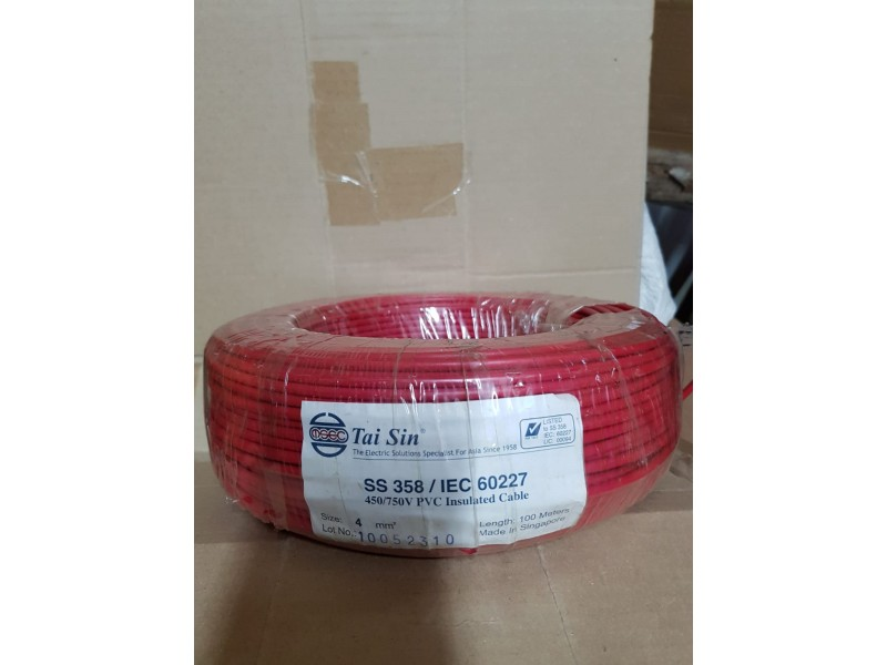 Tai Sin 4mm Pvc Cable 100mtrs (Red)
